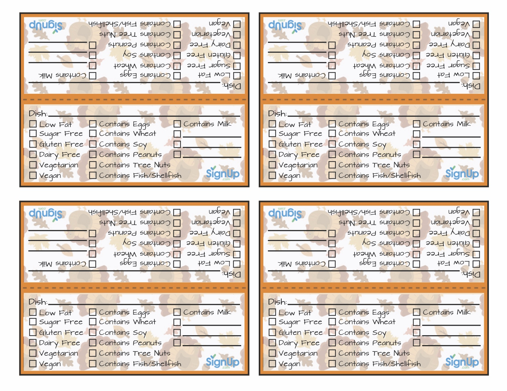 Printable Thanksgiving Meal Tags For Holiday Potlucks