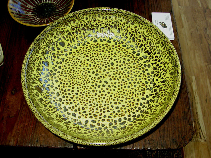 Huge Yellow / Black Oil Spot Bowl  1996