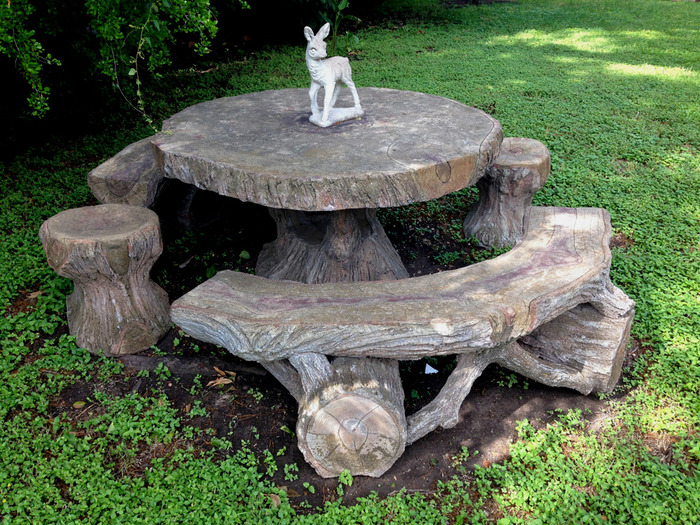Table and Benches Sculpted Circa 1940s