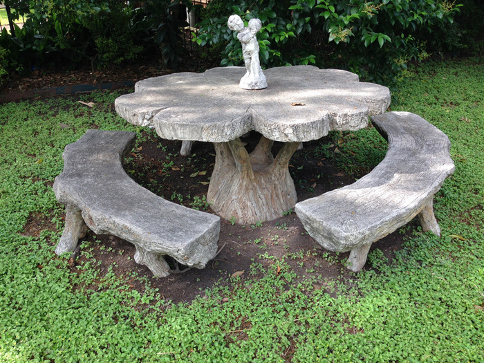 Table and Benches Sculpted Circa Early 1960s