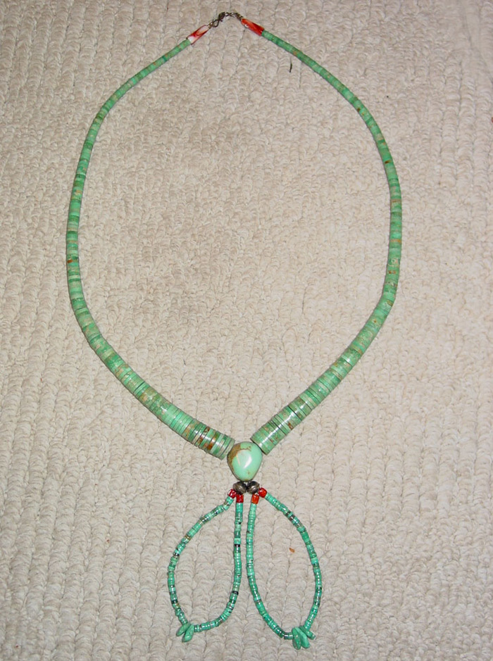 Vintage Turquoise Heishi Bead Necklace w/Joclas