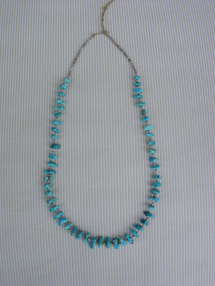 NAVAJO TURQUOISE AND PUKA SHELL NECKLAC