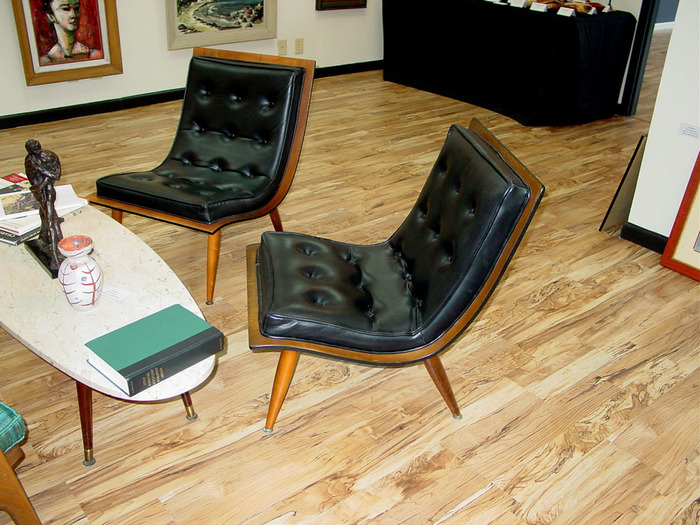 Pair Mid Century Scoop Chairs