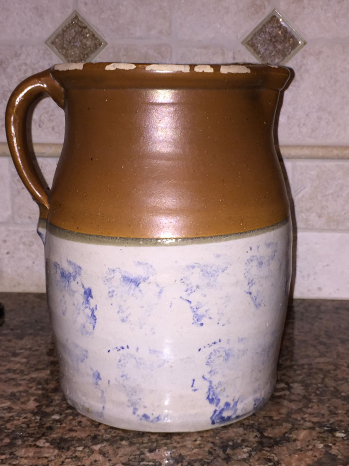 Pitcher with Rare Blue Stippled lower half