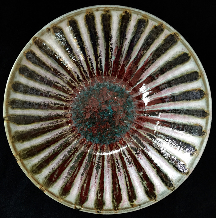 1961 Teal/Oxblood Red/Yellow/White Bowl