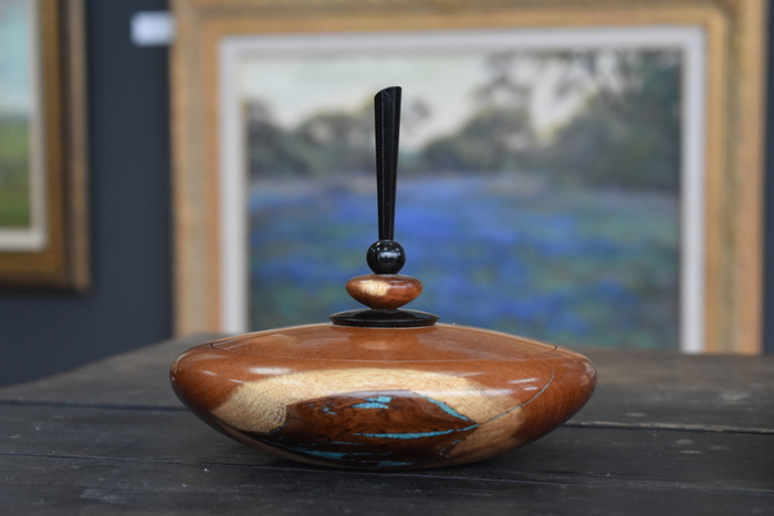 Mesquite Lidded Finial Box w/angled tip