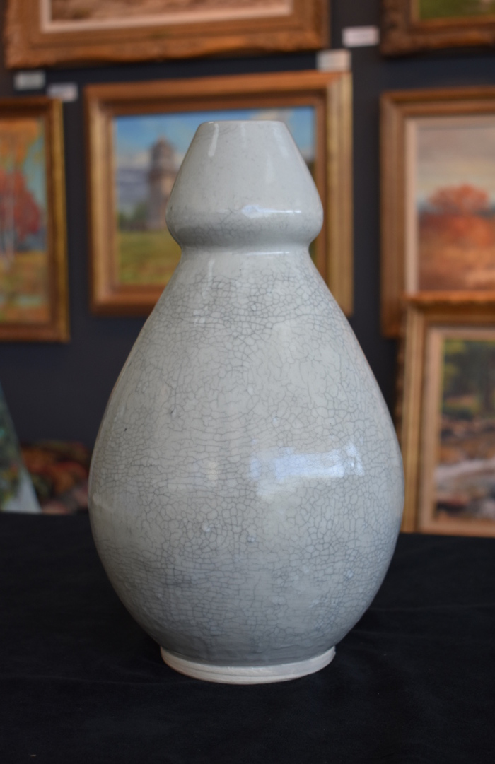 Huge Heavy Crackle Vase  1985