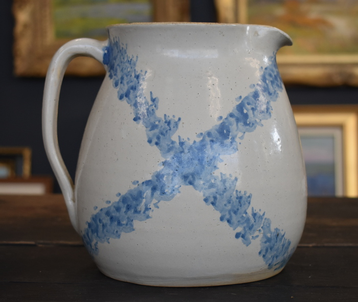 "White pitcher with stippled cobalt ""X"" decoration"