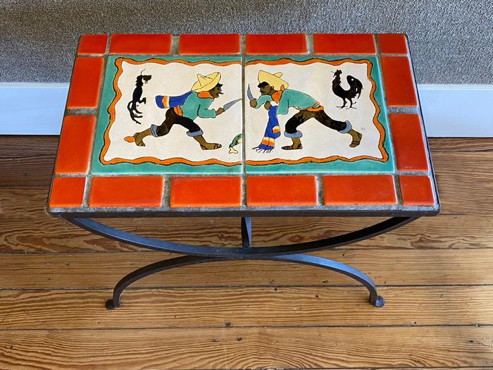 """Table  """"Cock Fight"""" Circa 1940s"""