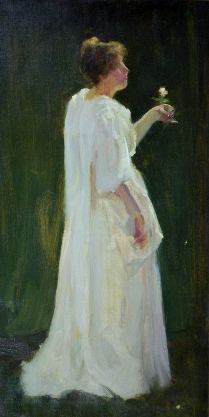 "Study for ""The Une Rose"" Unsigned from his estate.  One of several studies done of his wife shortly after their marriage. 1893"