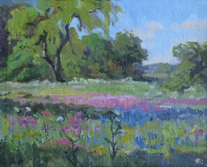"""Mesquite with Poppies and Phlox"""