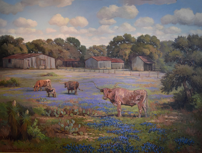 """Rural Texas Charm"" Longhorns Bluebonnets"