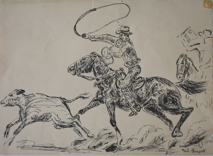 """Toots Mansfield Calf Roping"" Tie- Down Roping World Champion 1939,1940,1941,1943,1945 and 1950"