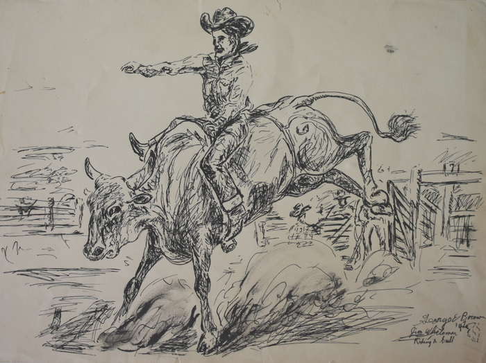 """Jim Whiteman Riding a Bull"""