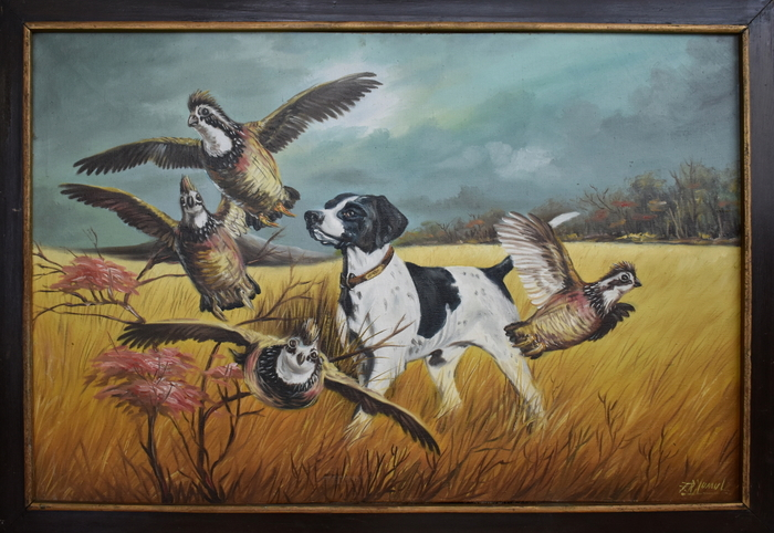 """Hunting Dog With Quail"""