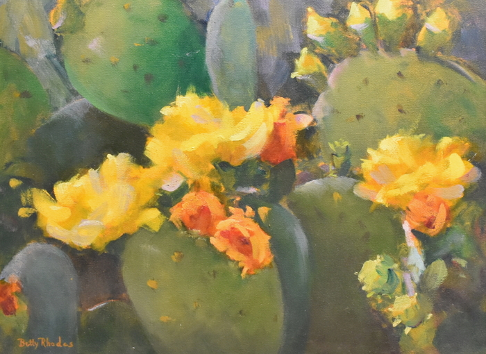 """Blooming Prickly Pear"" Cactus Yellow Green Orange"