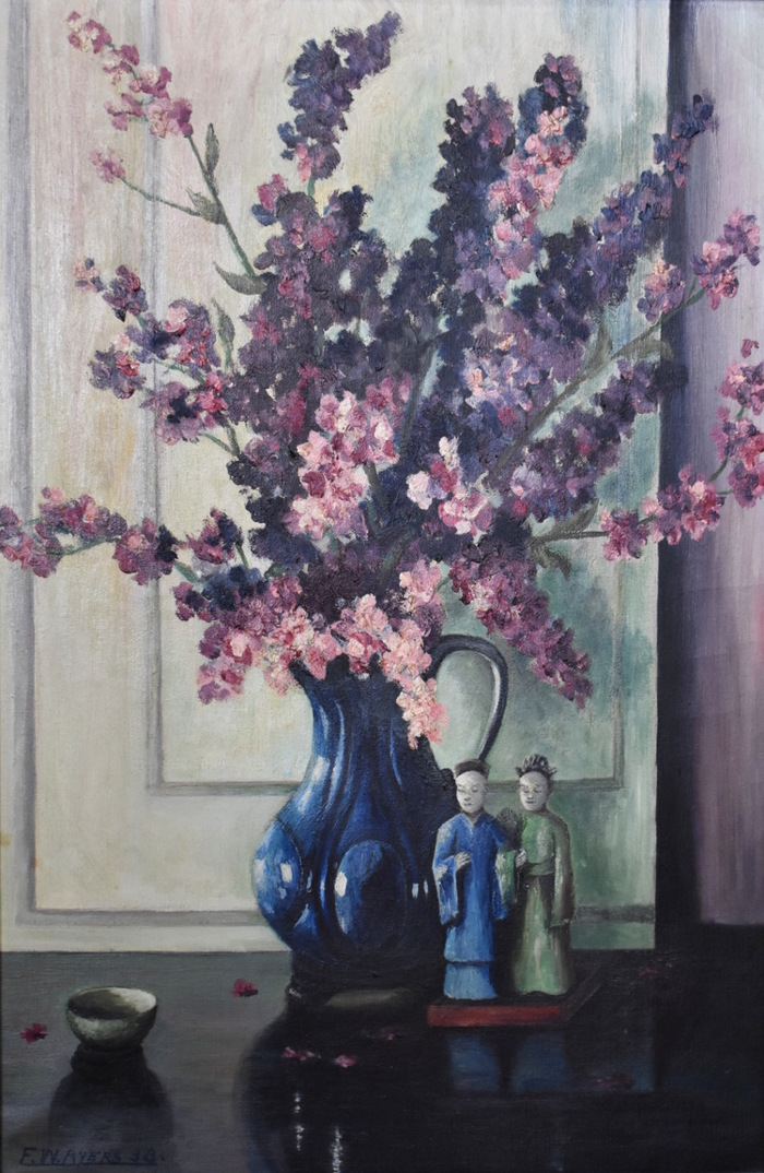 """Still Life with Flowers and Asian Figurines, 1938 """