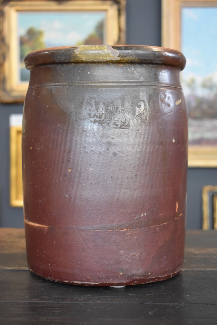 Two Gallon Crock, Marked I. Suttles, LaVernia, Texas