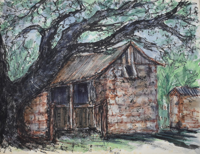 """Nimitz Stockade and Wagon House"" Fredericksburg Texas"