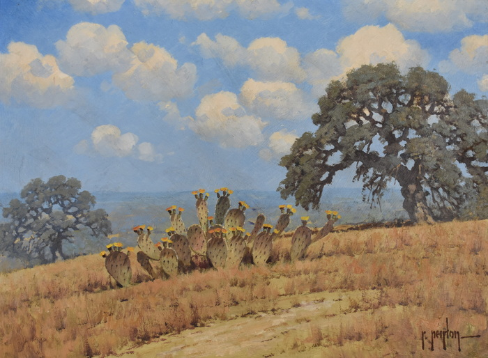 """Golden Bloom Prickly Pear""  Texas Landscape"