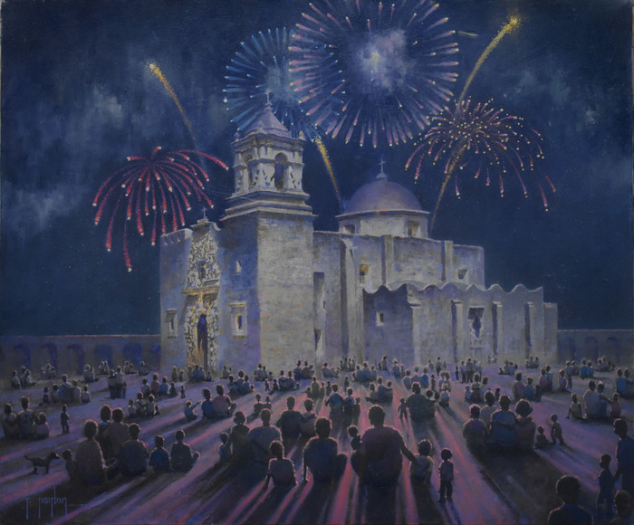 """Fireworks over Mission San Jose"""