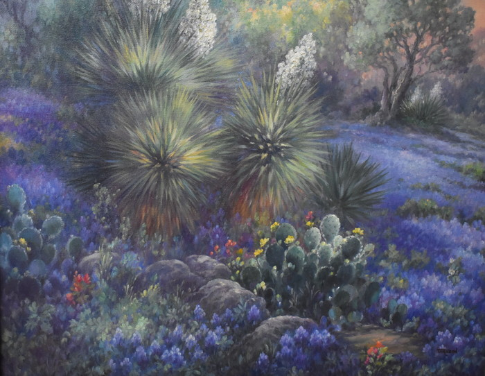 """Lone Star Sunrise"" Bluebonnet & Cactus"