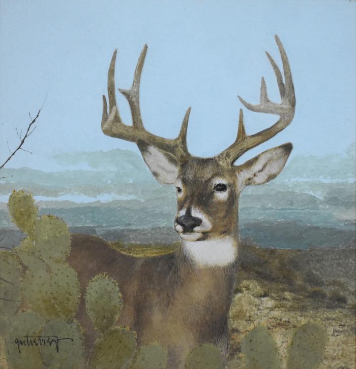 """Deer in Prickly Pear Cactus"""
