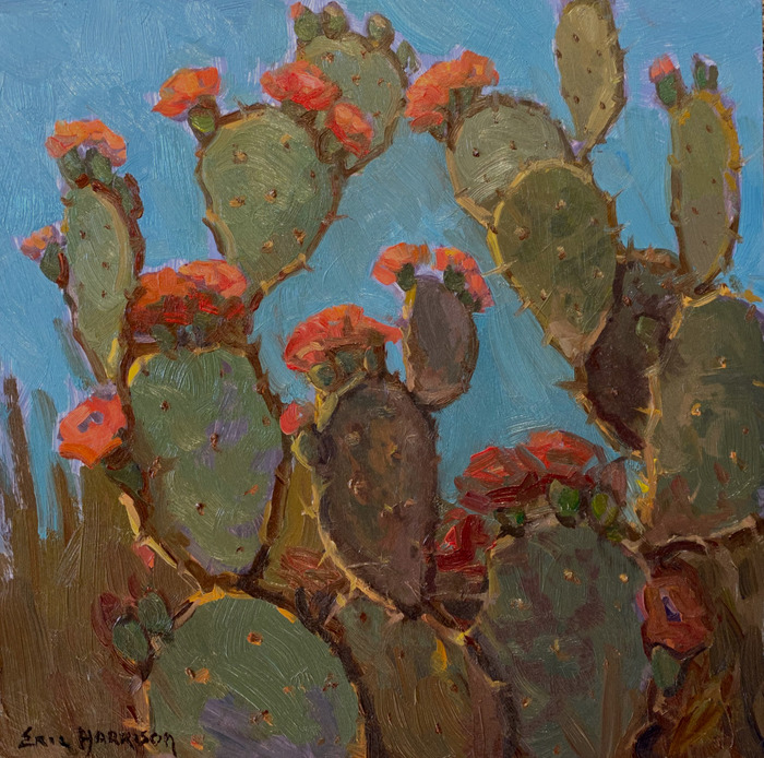 """""""Cactus with Red Blooms"""""""