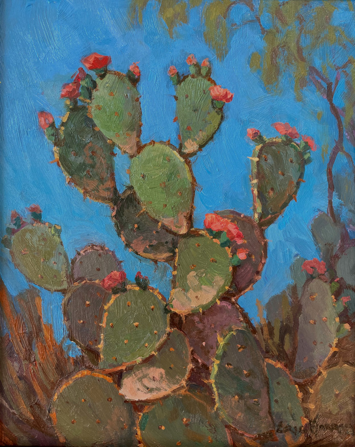 """""""Cactus with Coral Red Blooms"""""""