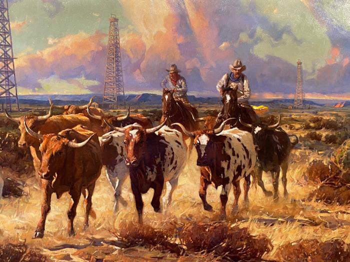 """Texas Gold"" Longhorns and Oil Derricks"