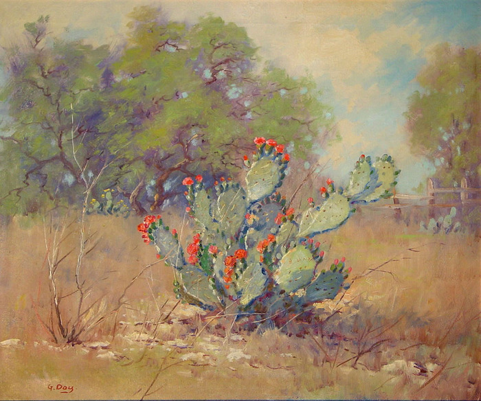 """Blooming Prickly Pear Cactus"""