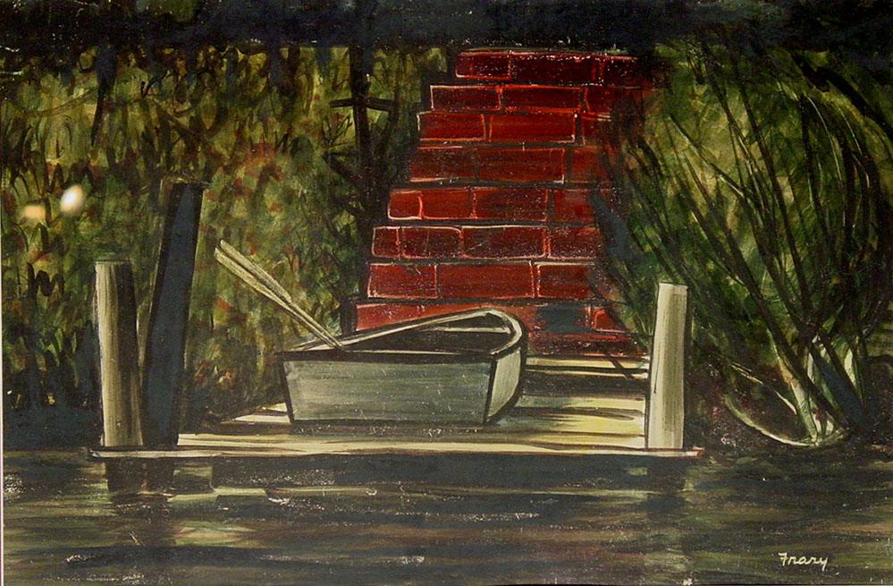 Fantastic Michael Frary - Rowboat - #552 | Texas Art | Vintage Texas Paintings GE87