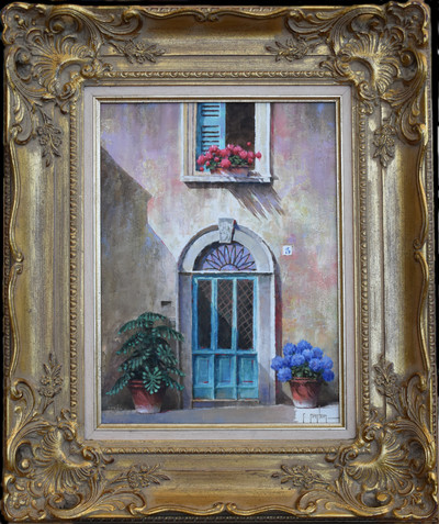 Bluedoorwithflowersframed
