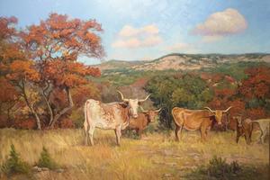 34_x_48_longhorns_and_spanish_oaks