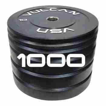 Vulcan 1000lb Black Rubber Bumper Plate Set