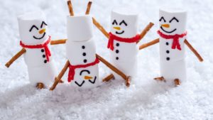 holiday video ideas don't have to be complicated—you could even film clips of simple festive things, like these marshmallow snowmen playing in snow