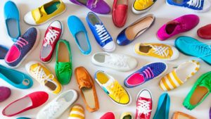 colorful assorted shoes serve as a metaphor for different styles of video