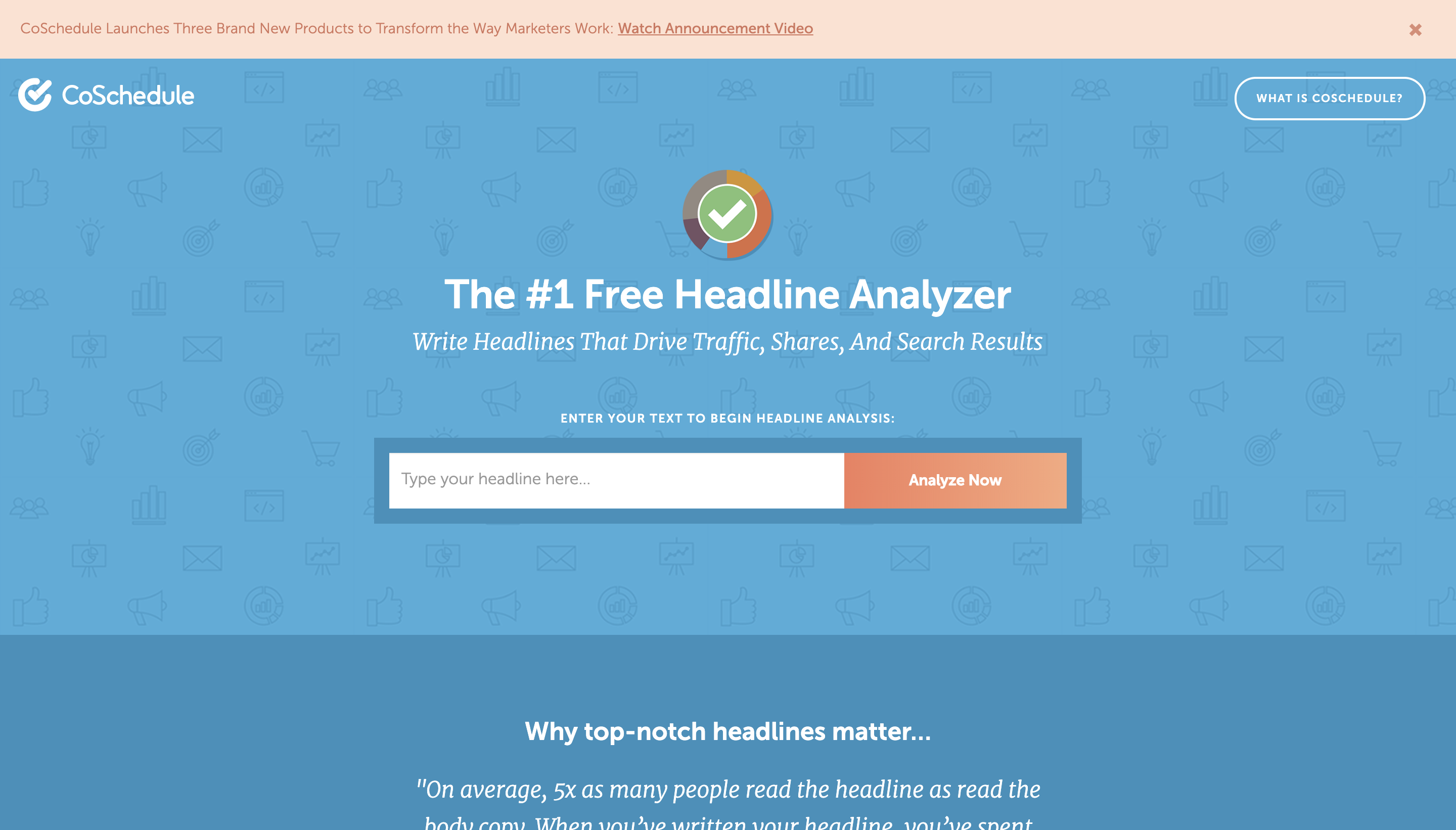 Screenshot of CoSchedule's Headline Analyzer, a tool to choose powerful titles