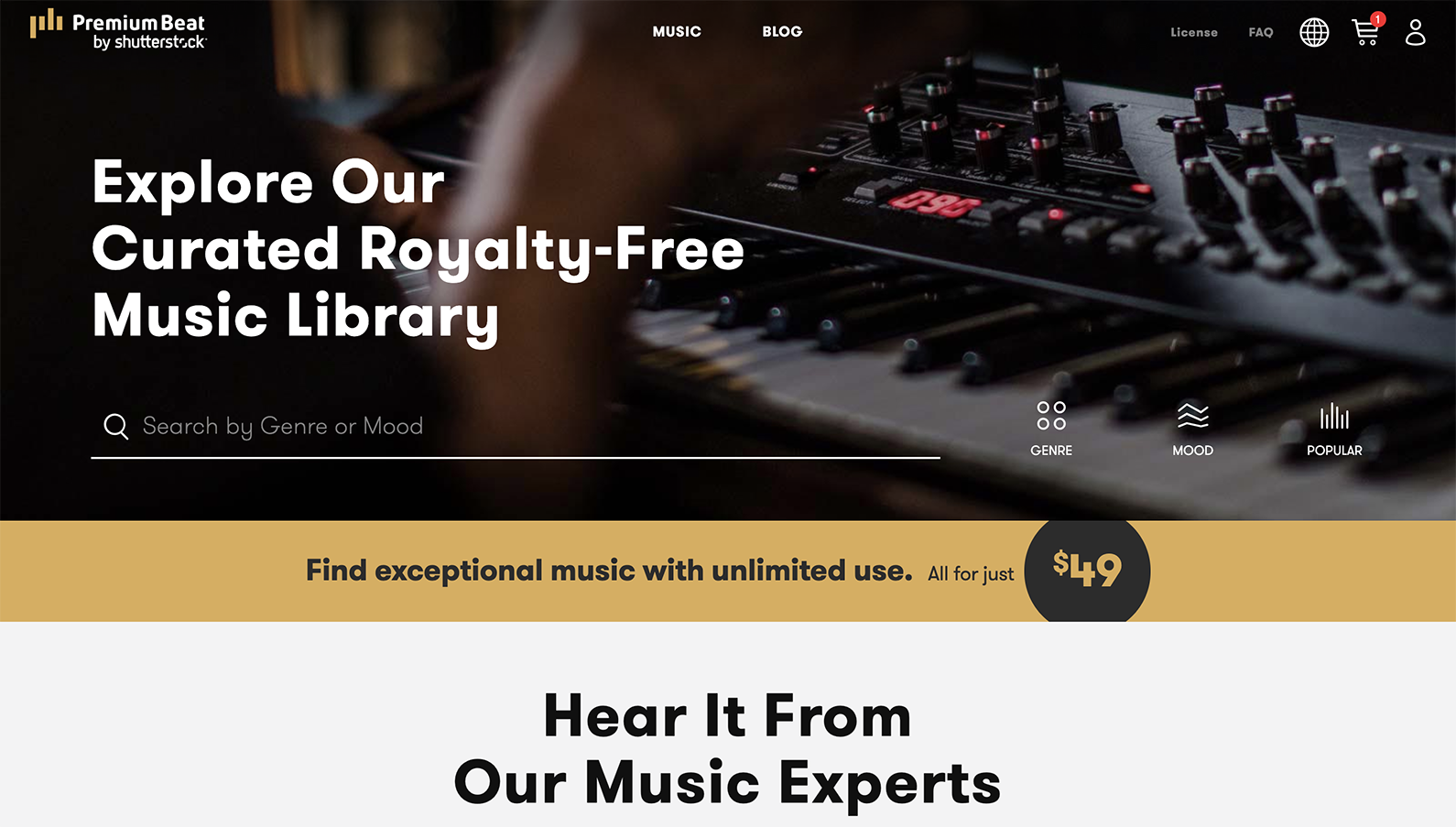 Screenshot of Premium Beat, a tool to source free music for videos