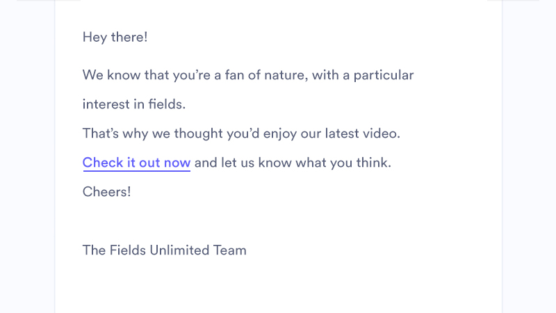 example email mockup showing a video link