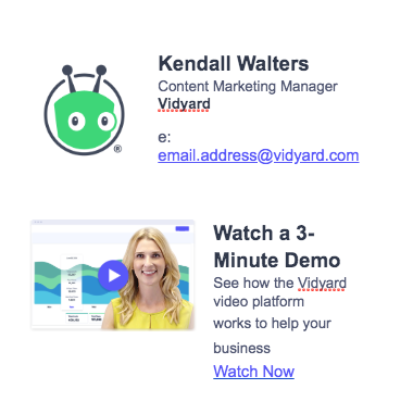 screenshot showing video in an email signature