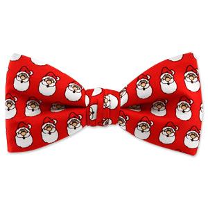 Santa Heads Pattern by Wild Ties red silk pretied bowties