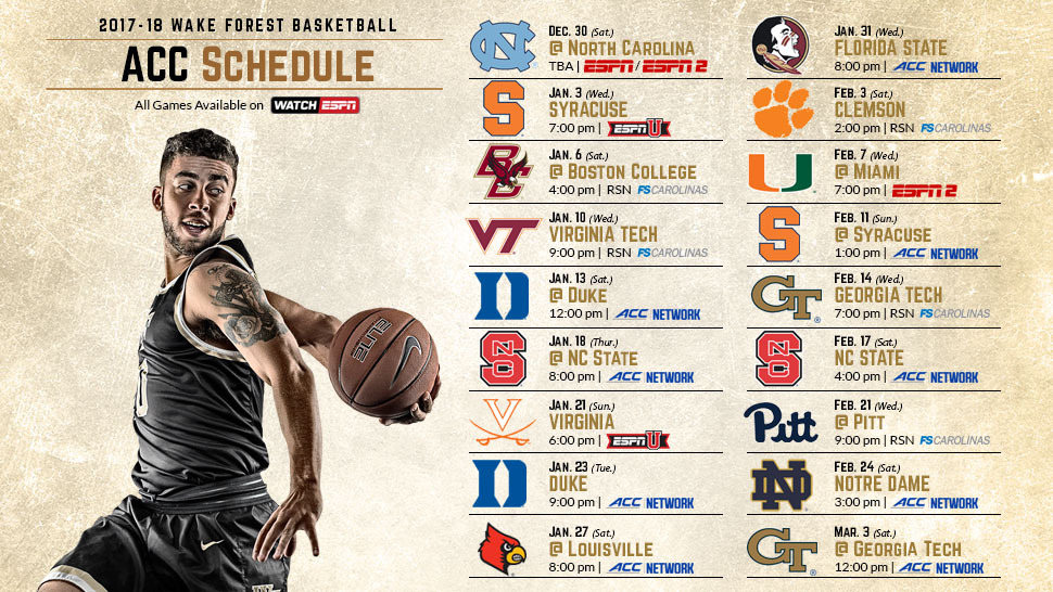 2017 18 Men S Basketball Acc Schedule Announced Wake Forest University