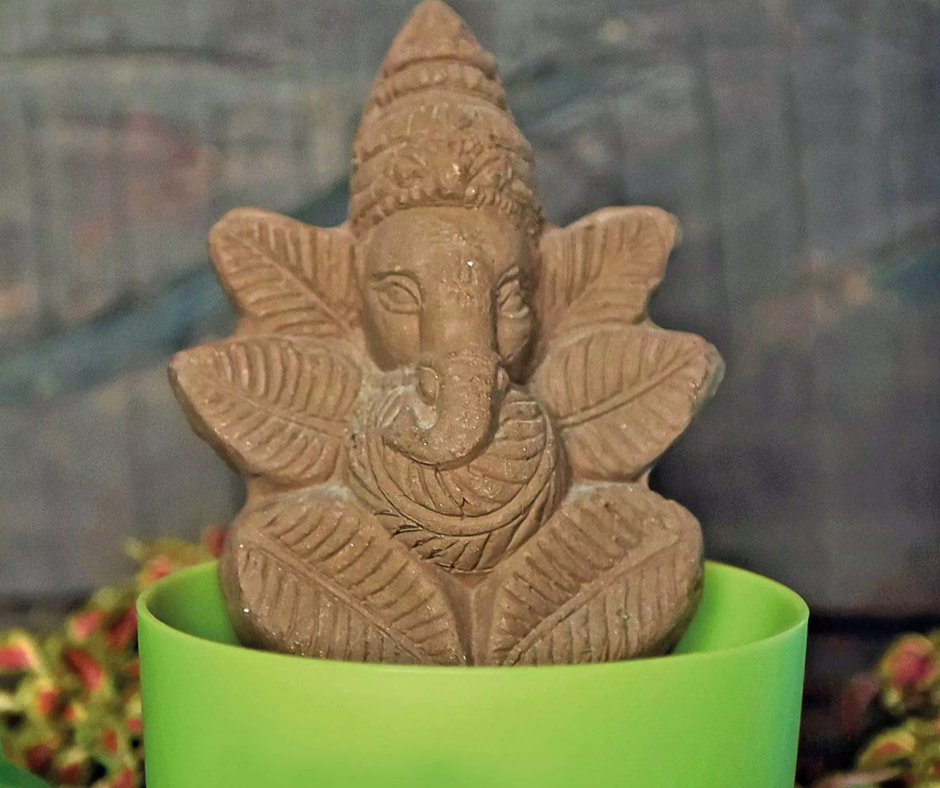 Grain and Clay Mix Ganesha Idol at Bangalore University Ganesh Chathurthi Celebrations 3
