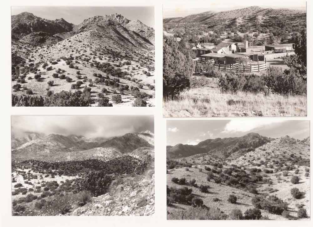 black-and-white photos of Harold Joe Waldrum's ranch on Ladron Mountain, south of Albuquerque