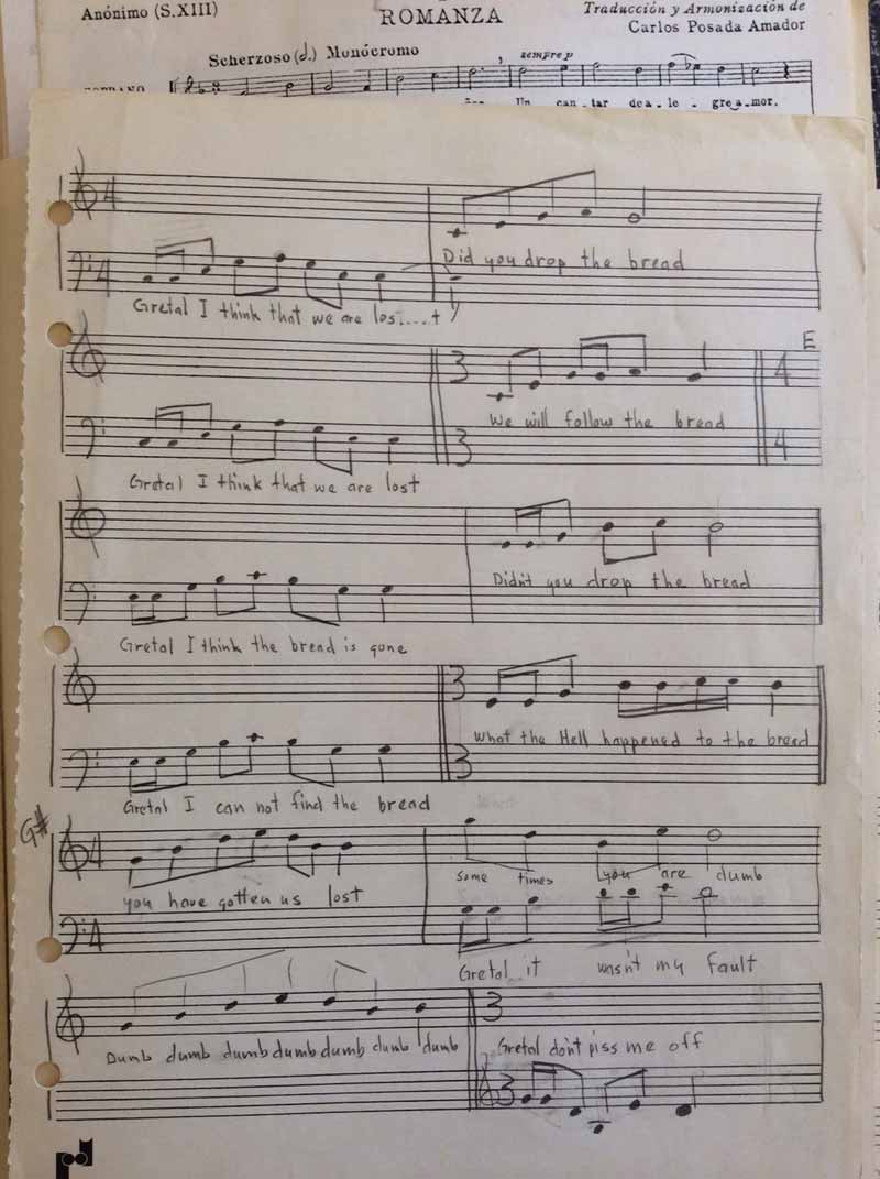 Harold Joe Waldrum's hand-written musical composition about a conversation between Hansel and Gretel