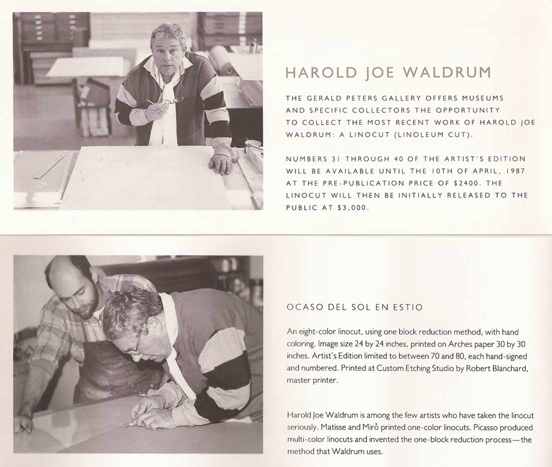 Robert Blanchard and Harold Joe Waldrum make a linocut