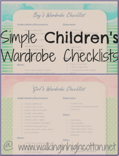 Simple Children's Wardrobe Checklists FREE PRINTABLE from Walking in High Cotton