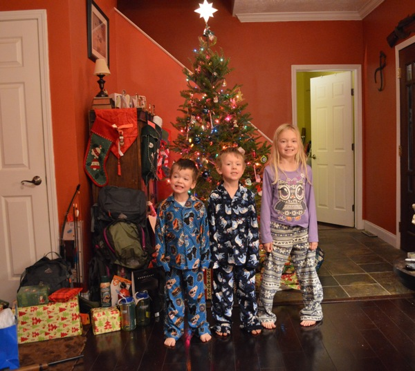 Christmas morning 2012--complete with brand new Christmas Eve jammies!