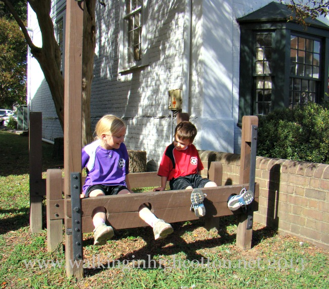 The kiddos were enjoying a little history on the Old Courthouse Green.